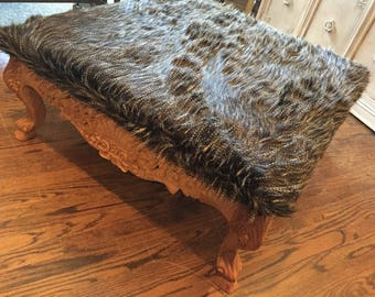 Gorgeous Vintage Raw Wood Mahogany . Faux Fur Feather . Square Ottoman Coffee Table . Bohemian Organic Luxe .