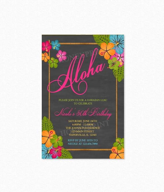 Hawaiian Luau Birthday Party Invitation Aloha Tropical Flowers Bamboo Drink Personalized Printable