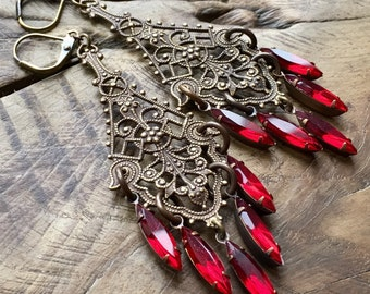 Red crystal earrings, Bohemian chandelier earrings, ruby red vintage crystal, brass, antique lace,, Victorian