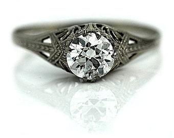 RESERVED RESERVED RESERVEDVintage 1930s Diamond Engagement Ring in 14k White Gold 1.00 Carat