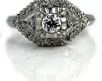 Antique Engagement Ring 1920s .74ctw Art Deco Ring Antique Platinum Ring Vintage European Cut Diamond Wedding Ring Milgrain Ring Size 4!