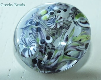 Handmade Lampwork Focal bead 'Black and White & Green II' Creeky Beads SRA