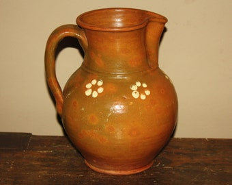 Antique Country Primitive Redware Pitcher; Decorated, Lead Glazed Pottery, 19th Century, Mottled, Old Orange & Green Jug
