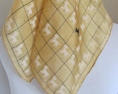 "VERA Neumann // Yellow Silk Pocket Scarf - 17"" Inch 44cm Square // Patent Pending 1950s with Charms RARE!!"