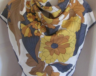 """Scarf Beautiful Off White Yellow Floral Silk Scarf // 30"""" Inch 76cm Square"""