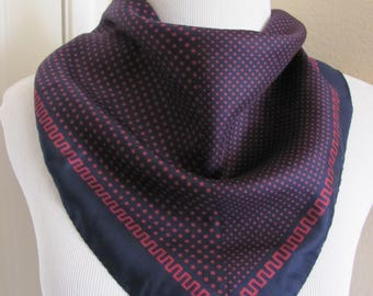 "Small Dark Blue Red Vintage Silk Pocket Scarf  - 17"" Inch 44cm Square"