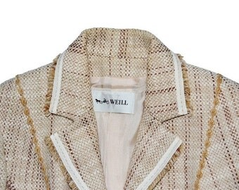 ON SALE Vintage Womens WEILL Paris Classic Cream Brown Jacket  Size 6 Tapestry France 38 Very Chic