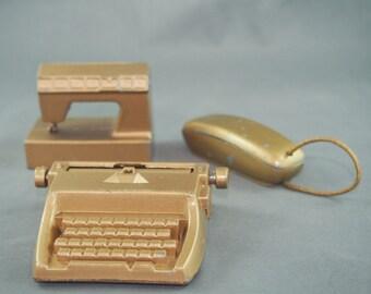 Metal Miniatures Dollhouse Typewriter Sewing Machine Phone Durham Industries