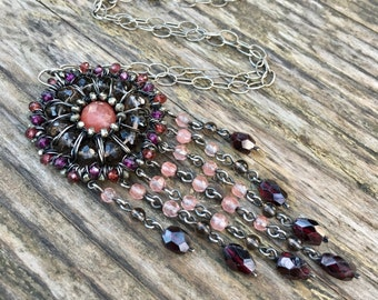 Long Boho Chic Gemstone Necklace - Pink and Red Mandala - Bohemian Jewelry - Garnet, Quartz, Pyrite