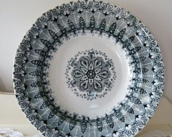 ON SALE Antique Black Transferware Doric Star Soup Bowl Charles Meigh Staffordshire England Ironstone 1800s Collectible