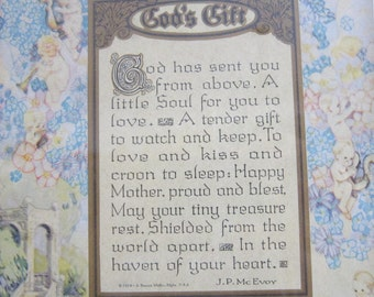 1924 JP McEvoy God's Gift Poem Framed