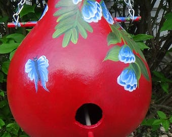 Blazing Red Birdhouse Gourd With Blue Tropical Flowers and Butterflies