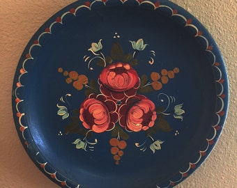 Painted Floral Tray Platter Blue