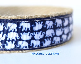 White Elephant Dog Collar, Dog Collar, Navy and White Collar, Pet Accessories, Adjustable Dog Collar, Elephant Print Dog Collar, Collar
