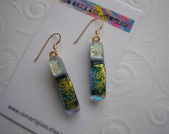 Dichroic Earrings Sunlit Forest Green Gold with Pearly Gray Gold Earwires Long and Skinny Opalescent Fused Glass Color Shifting Dichro
