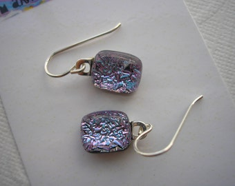 Earrings Dichroic Petite Lilac Blue Crinkle Fused Glass Jewelry .925 Sterling Silver Sparkle Dangle Color Shifting Purple Glitter Very Small