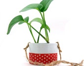 Ceramic Red Scoop Hanging Planter