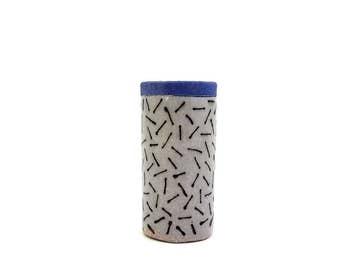 Ceramic Dash Bud Vase, Blue Lip
