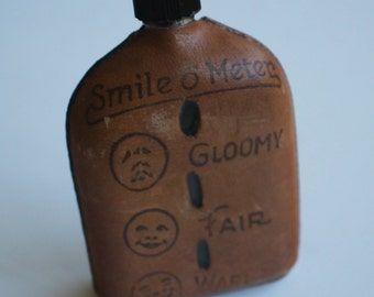 Funny Vintage Liquor FLASK...Old Town Maine Souvenir...Leather Covered...A Little Smile Makes Life Worth While