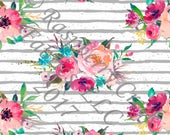 Teal Fuchsia Coral and Grey Stripe Watercolor Floral 4 Way Stretch FRENCH TERRY Knit Fabric, By Melissa Hruban for Club Fabrics, PREORDER
