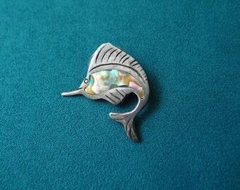 vintage Taxco Mexico Sterling Silver Marlin Fish Brooch Pin inlaid abalone shell old eagle 3 assay mark Sailfish Swordfish