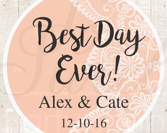 Wedding Favor Stickers, Bridal Shower Favor Labels, Personalized Stickers, Bachelorette Party Favors, Best Day Ever - Peach - Set of 24