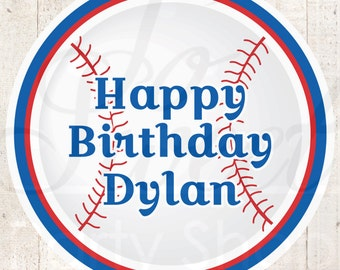 Baseball Boys Birthday Favor Sticker Labels, Party Favors, 1st Birthday Stickers, Thank You Stickers, Personalized Party - Set of 24