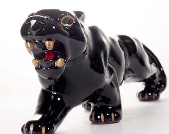 "Vintage Roaring Panther Figure Rhinestone Eyes 1950s Jungle Room Tiki Bar 11.75"""