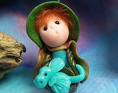 """Tiny 'Rory' Gnome Dragon Whisperer 1+1/2"""" with 'Drake' Dragon OOAK Sculpt by Sculpture Artist Ann Galvin Art Doll"""