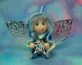 "Tiny Festive Winged Ice-Flurrier Gnome 'Aereall' 1+3/4"" OOAK Sculpt by Sculpture Artist Ann Galvin Art Doll"