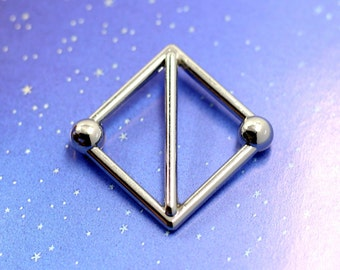 Metal Buttons - Geometric Square Metal Shank Buttons , Shiny Silver Color , 0.79 inch , 6 pcs