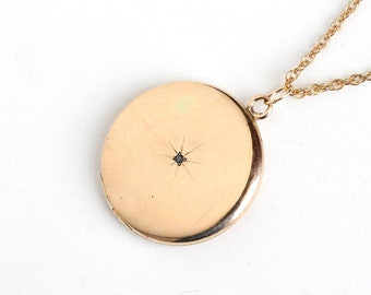 Antique Star Incised Diamond Locket Necklace - Vintage Gold Shell Early 1900s Victorian Edwardian Round Pendant Fob Monogrammed Jewelry