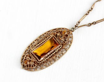 Vintage Art Deco Simulated Citrine Brass Pendant Necklace - 1930s Orange Brown Glass Stone Filigree Lavalier Statement Costume Jewelry