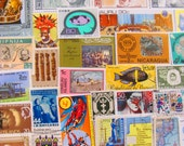 It's A Small World 100 Vintage Postage Stamps International European EU Asia Africa Latino Travel Journal Scrapbooking Worldwide Philately