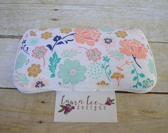 Navy Peach and Aqua Blue Floral Travel Baby Wipe Case, Personalized Case, Baby Shower Gift, Wipe Holder, Monogrammed. Diaper Bag Wipe Clutch