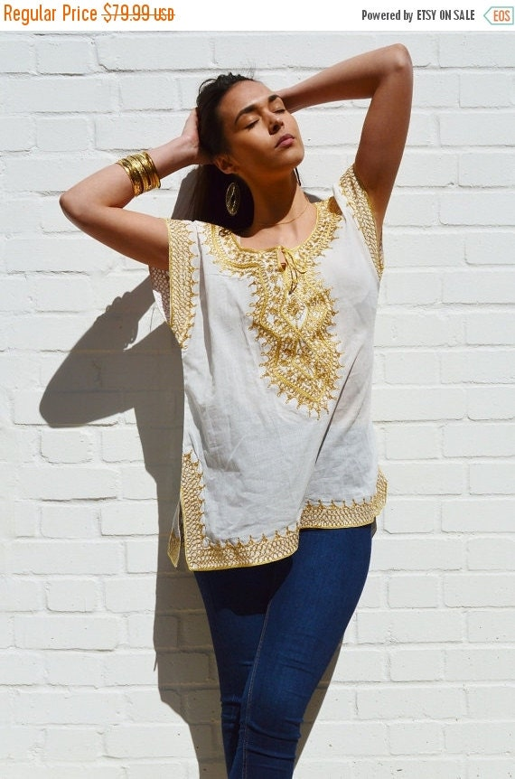 SPRING 10% OFF SALE //// Christmas gifts- Asmahan Style White with Gold Embroidery Tunic-resortwear, birthday, beach wedding, bridesmaid gif