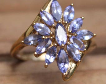9ct Gold Ring Iolite Jewellery Jewelry Ladies 9K 9 Carat AS NEW Womens Cluster Ring Ladies Gold Ring Ladies Gift 9ct Ring Gold Ring