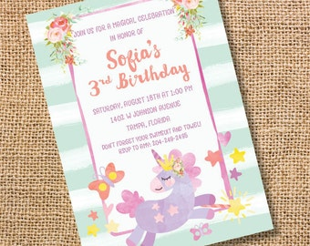 Unicorn Birthday Invitation Princess Unicorn Watercolor Butterfly Printable Invitation Birthday Party Twins Baby Shower Invite Floral Pony