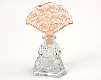 vintage cut glass perfume bottle • cherry blossoms • pink glass