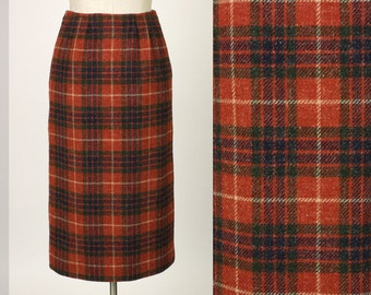 vintage flecked wool pencil skirt in red plaid • 1950s style • xs