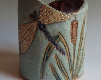 Stoneware Wine Chiller, Wine Cooler, Crock or Vase DRAGONFLY Design