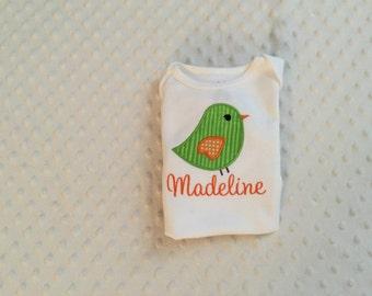 Baby Girl Personalized Bodysuit - Appliqued Bird