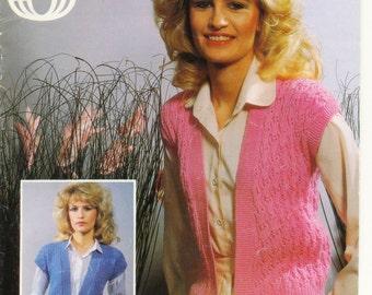 Ladies Waistcoats - Sirdar Summer Waistcoats Gilet -DK Knitting Pattern - Sirdar Knitting Pattern - ORIGINAL Knitting Pattern
