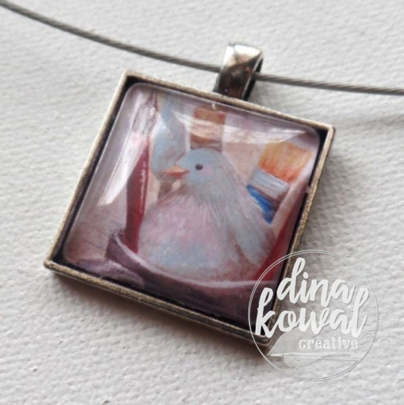 Crafty Dove - art craft supplies - domed glass tile pendant necklace