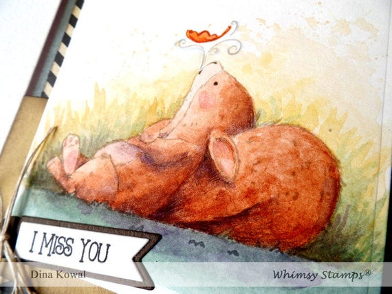 handmade greeting cards - squirrel - fall leaf - miss you