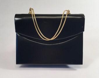 Vintage Black Leather Handbag Purse With Gold Serpentine Handle