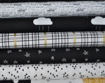 When Skies Are Grey Black Fat Quarter Bundle by Simple Simon and Company for Riley Blake, 7 pieces