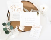 Letterpress and Rose Gold Foil Wedding Invitation Sample - The Marie-Claire Collection