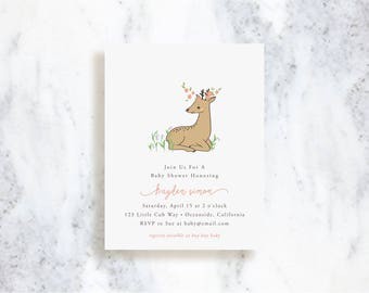 Custom Invitations // Woodland Fawn // Birthday Party Invite // Baby Shower
