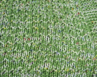 One Hand Knit Washable and Dryable Merino Wool Blend Afghan & Throw Blanket